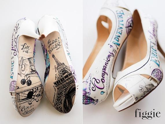 Chaussures de mariée ballon personnalisé personnalisé personnalisé voyage peints à la main sur le thème Air chaud | Formes élégantes  4a6d14