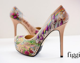 CUSTOM Hand-Painted Wedding Shoes, Fairy Tale Castle and Easter Themed