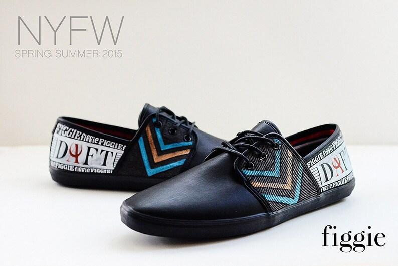 4a6f0f732548f SAMPLE SALE Sz 12 Hand Painted Men's Shoes, Black, Blue, Orange, Silver
