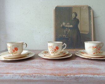 Vintage Alfred Meakin Tea cups/Saucers/Cake plates - Tea for Three