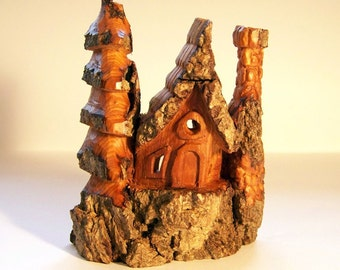 Wood Spirit Gnome Home, Handcarved from Cotton Wood Bark 1101