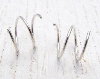Small Double Piercing Earrings / Earrings for Two Piercings / Double Earrings / Eco-Friendly Double Hoops / Hoops for 2 Holes / 101527