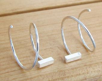 "1/2"" Double Hoop Earrings. Argentium Sterling Silver Hoops. Bar Earrings for Two Piercings. Silver Bar Hoops. Double Piercing Lobe 105278"