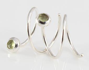Double Hoop Earrings with Rose Cut Peridot / Sterling Silver Hoops / Earrings for 2 Piercings / Silver Hoops / Double Piercing Earrings
