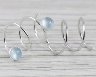 19e4df0fe87 Aquamarine Triple Piercing Earrings   Hoops for Three Holes   Argentium  Silver Hoops   Three Hole Earrings   Triple Hoops   Spiral Hoops