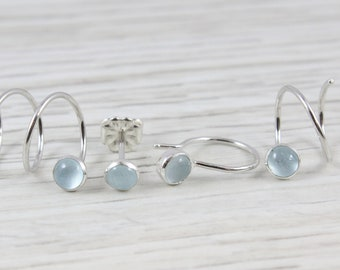 d267dd1a468 Aquamarine Ear Spiral Set for Varying Piercings in Argentium Sterling  Silver   Mix and Match Earrings   Double Piercing   Triple Piercing