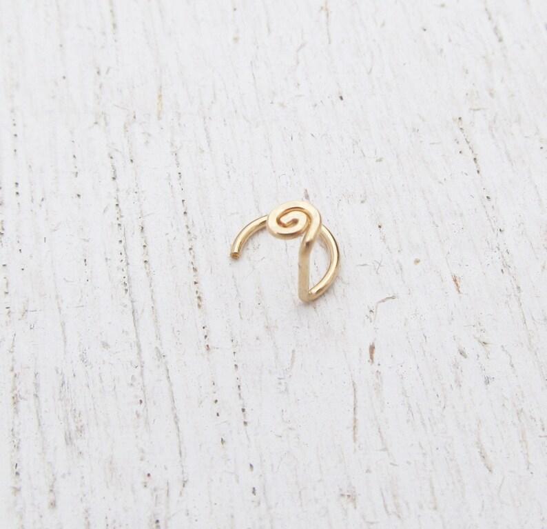 20 Gauge Nose Stud / 14/20 Gold Filled Nose Ring / Spiral image 0