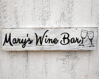 Custom Wine Bar Sign, Personal Bar Sign, Carved Distressed Wooden Sign, Rustic Farmhouse Kitchen Decor, Painted Wood Sign