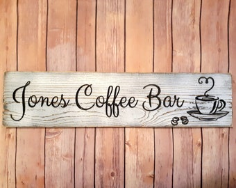 Custom Coffee Bar Sign, Carved Distressed Wooden Sign, Rustic Farmhouse Kitchen Decor, Painted Wood Sign