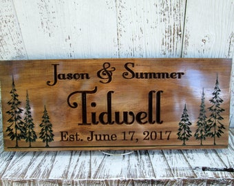 Last Name Sign Wedding Gift, Personalized Name Signs for Home, Wooden Cabin Signs, Carved Wooden Signs Made to Order, Custom Signs, C108