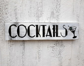 Custom Cocktail Sign, Personal Bar Sign, Carved Distressed Wooden Sign, Rustic Farmhouse Kitchen Decor, Painted Wood Sign