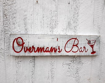 Custom Bar Sign, Personal Bar Sign, Carved Distressed Wooden Sign, Rustic Farmhouse Kitchen Decor, Painted Wood Sign