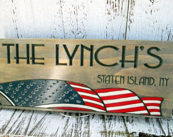 Last Name Sign with American Flag,  Personalized Military Family or Veteran gift, Custom Family  Sign, Family Wall Flag Plaque,Free Shipping