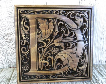 """Carved Monogram Initial , 11""""x11"""" Wooden Letter Sign, Family Letter Plaque, Custom Carved Wooden Signs Made to Order, Free Shipping"""