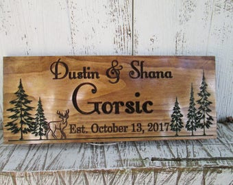 Carved Family Name Sign with Pine trees and Deer, Personalized Name Signs for Home, Wooden Cabin Signs, Carved Wood Signs Free Shipping C109