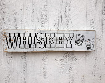 Custom Whisky Sign, Personal Bar Sign, Carved Distressed Wooden Sign, Rustic Farmhouse Kitchen Decor, Painted Wood Sign