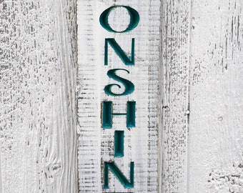 Moonshine Sign, Custom Bar Sign, Carved Distressed Wooden Sign, Rustic Farmhouse Kitchen Decor, Painted Wood Sign