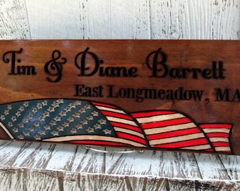 Family Sign with American Flag, Wooden Sign, Military Family or Veteran gift, Personalized Family Wall Plaque, Free Shipping, Flag 101