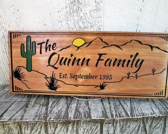 Custom Cactus House Sign, Desert Home Established Family Sign, Carved Wood Name Sign, Custom Wooden Sign, Wood Signs, Free Shipping