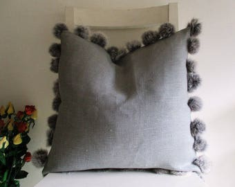 Rabbit Fur Pompons on Grey Pure Linen 16 x 16 Cushion cover