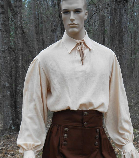 H001 Poet Shirt Musketeer Shirt Renaissance Pirate Shirt Men's Women's Made to Order MCFYAUx