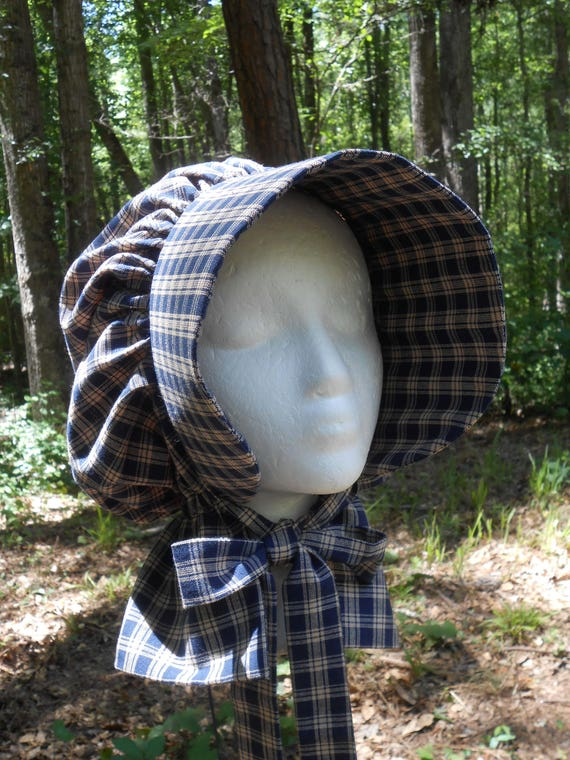 H008 Girls Frontier Early American Pioneer Prairie Bonnet With Adjustable Ribbon Ties At Neck by Etsy