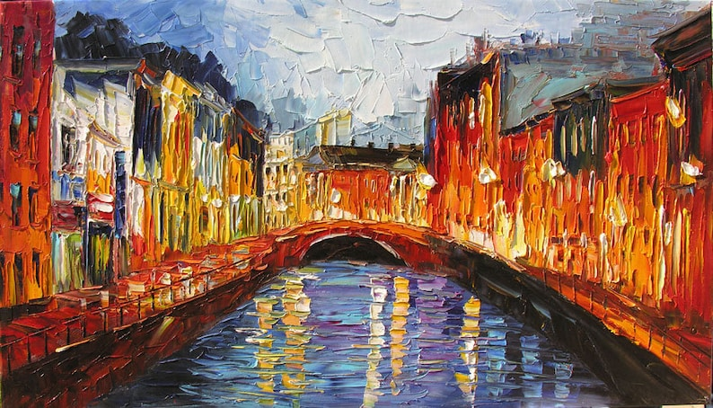 Image result for cityscape painted with palette knife