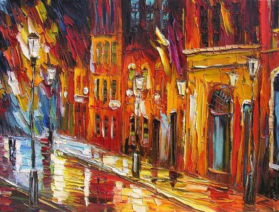 Original pintura al óleo espátula textura hecha orden colorida