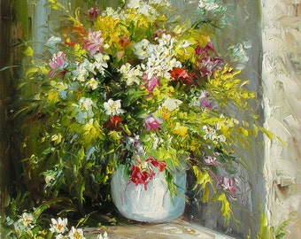 Original MADE to ORDER Oil Painting Palette Knife Texture Wild Romantic Flowers Vase Bouquet Handmade  Still Life Colourful ART by Marchella