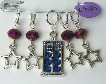 TARDIS in the stars knitting or crochet stitch markers