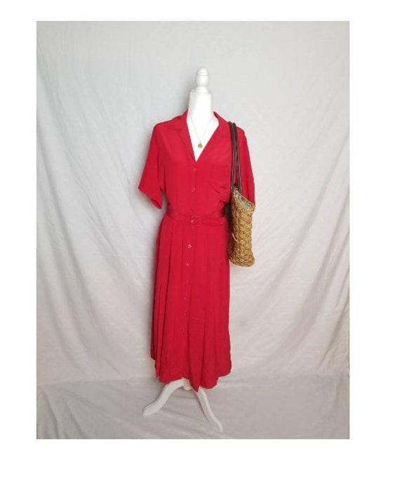 Strawberry wine red picnic dress vintage red silk
