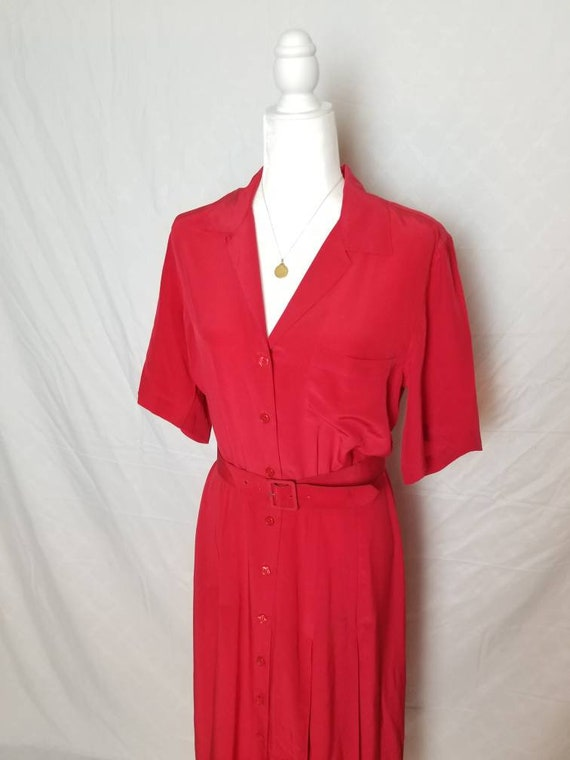 Strawberry wine red picnic dress vintage red silk