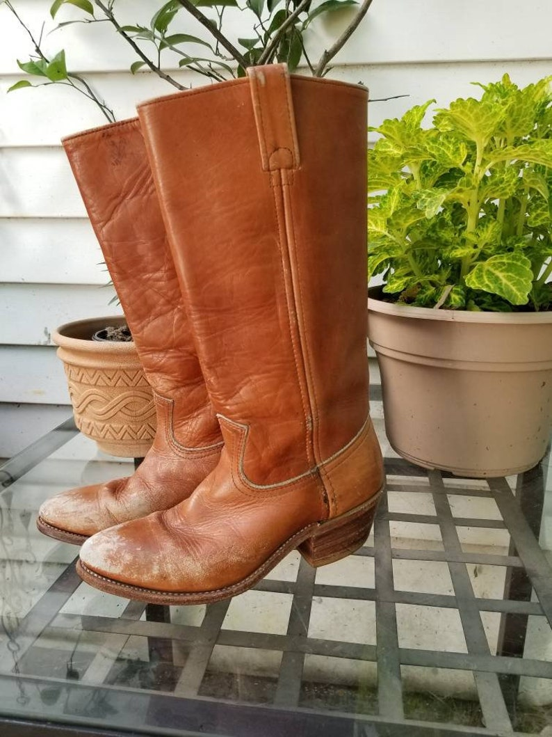 8b4650f4c457c Vintage womens leather boots western style boots vintage cowboy boots tan  leather boots