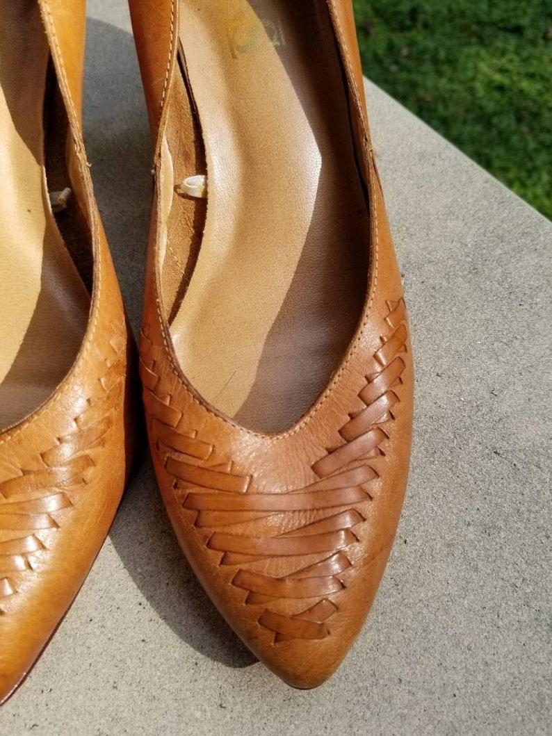 c37323c4a69e7 Womens leather pumps / woven leather pumps / vintage heels / brazilian  leather womens 7.5 heel vintage leather heels tan leather shoes