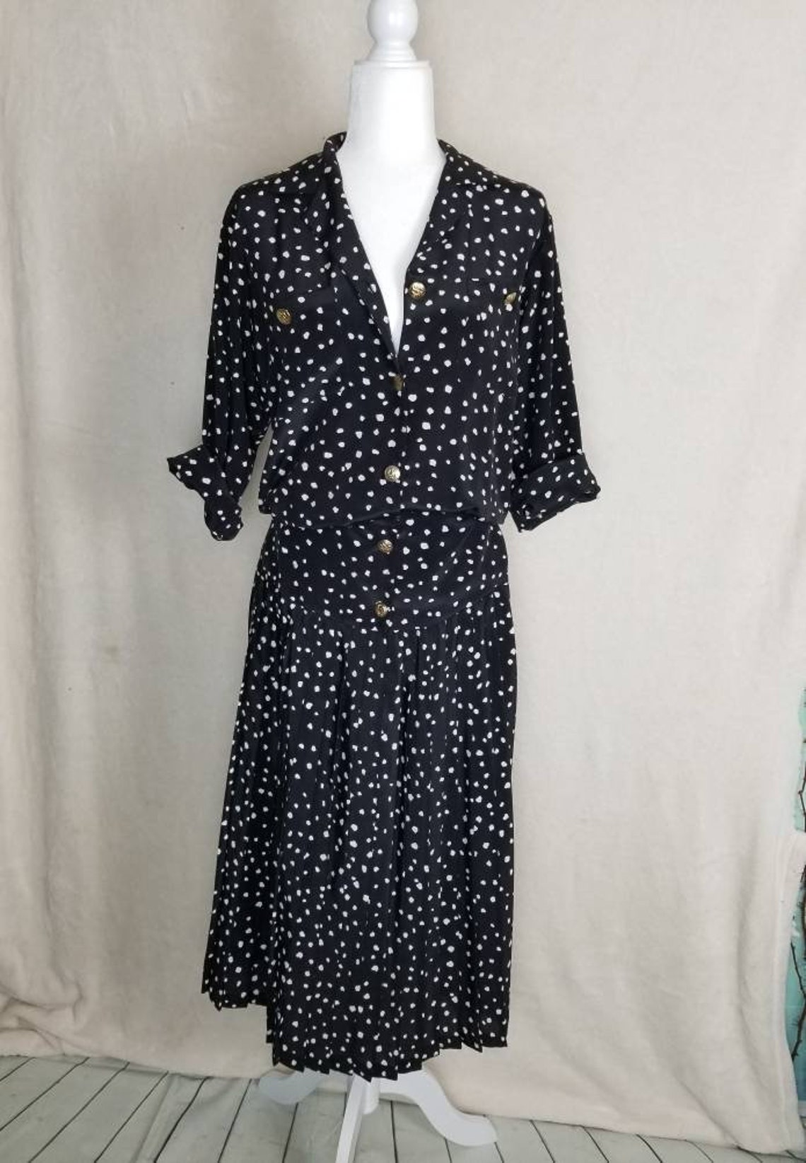 Silky black and white button up maxi dress brass button dress