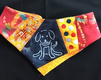 QK4-1729 L Chalkboard Pup Quilt-Kerchief
