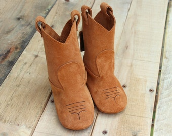 Leather Toddler Cowboy Boots - Wool Lined Winter Kids Boots - Child Birthday Gift - Brown Leather Suede Cowboy Boots - Kids Boots