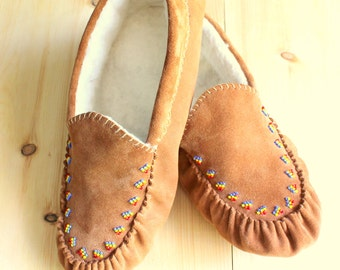 Leather Beaded Moccasins - Mothers Day Gift Ideas - Leather Slippers - Summer Gift for Her - Ladies Moccasins - Mens Moccasins - Brown