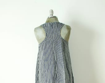medium a-line navy and off white striped linen dress or jumper with pockets racer back and shirt tail hem