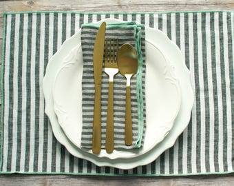 striped 100% linen placemat two sided in gray white and ivory edges with sage mint green
