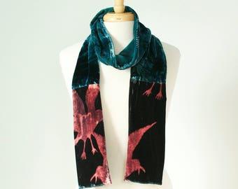 crow hand painted long skinny silk velvet scarf  in teal, magenta and dark berry