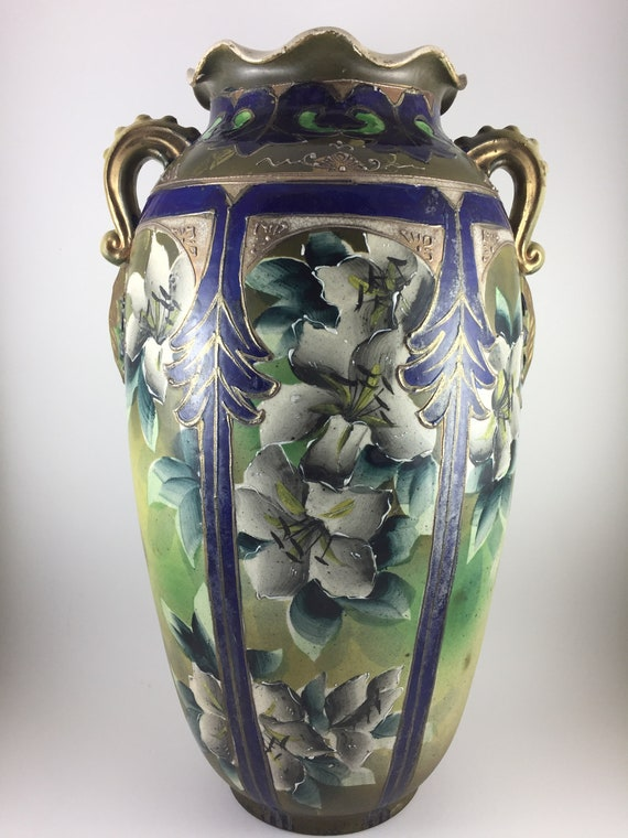 Rare Antique Japanese Nippon Moriage Large Tall Vase Circa Etsy