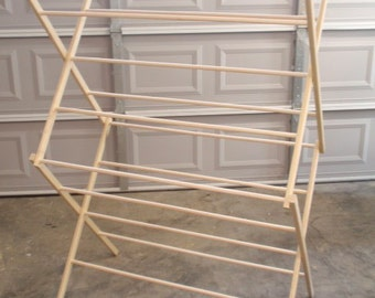 Medium Wooden Clothes Drying Rack Made in the USA! 26 Feet of Drying Space