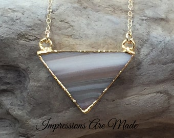 Triangle Necklace, Gold Triangle Necklace, Jasper Necklace, Jasper Triangle Necklace, Natural Stone Necklace, Gold Necklace, Tan Necklace