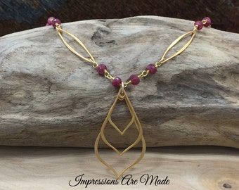 Ruby Necklace, Beaded Necklace, Beaded Chain Necklace, Ruby Corundum Necklace, Gold Necklace, Pink Necklace, Gold Plated Sterling Silve