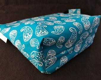 Blue Paisley Wet Bag, Cosmetic Bag, Travel Bag, Beach Bag, Toiletry Bag, Cloth Pad Wet Bag, Paisley Bag, Blue Paisley, Blue Wet Bag