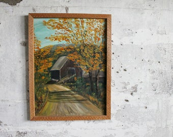Vintage Barn Country Road Painting with Wooden Frame