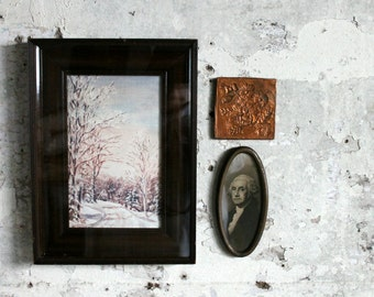Vintage Glassed Frame and Painting / Winter Scene