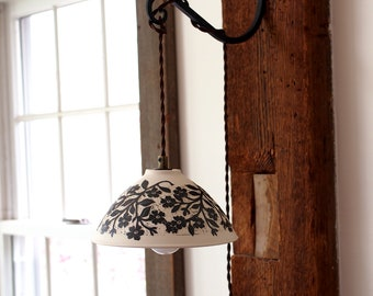 Porcelain Accent/Sconce Lamp or Pendant Lamp in White with Dark Warm Brown, Hand Carved Birds and Flowers and Bunnies