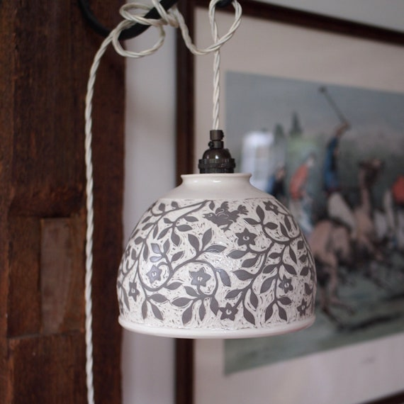 Hanging Taupe and White Lamp in Porcelain with Hand Carved Birds and Flowers